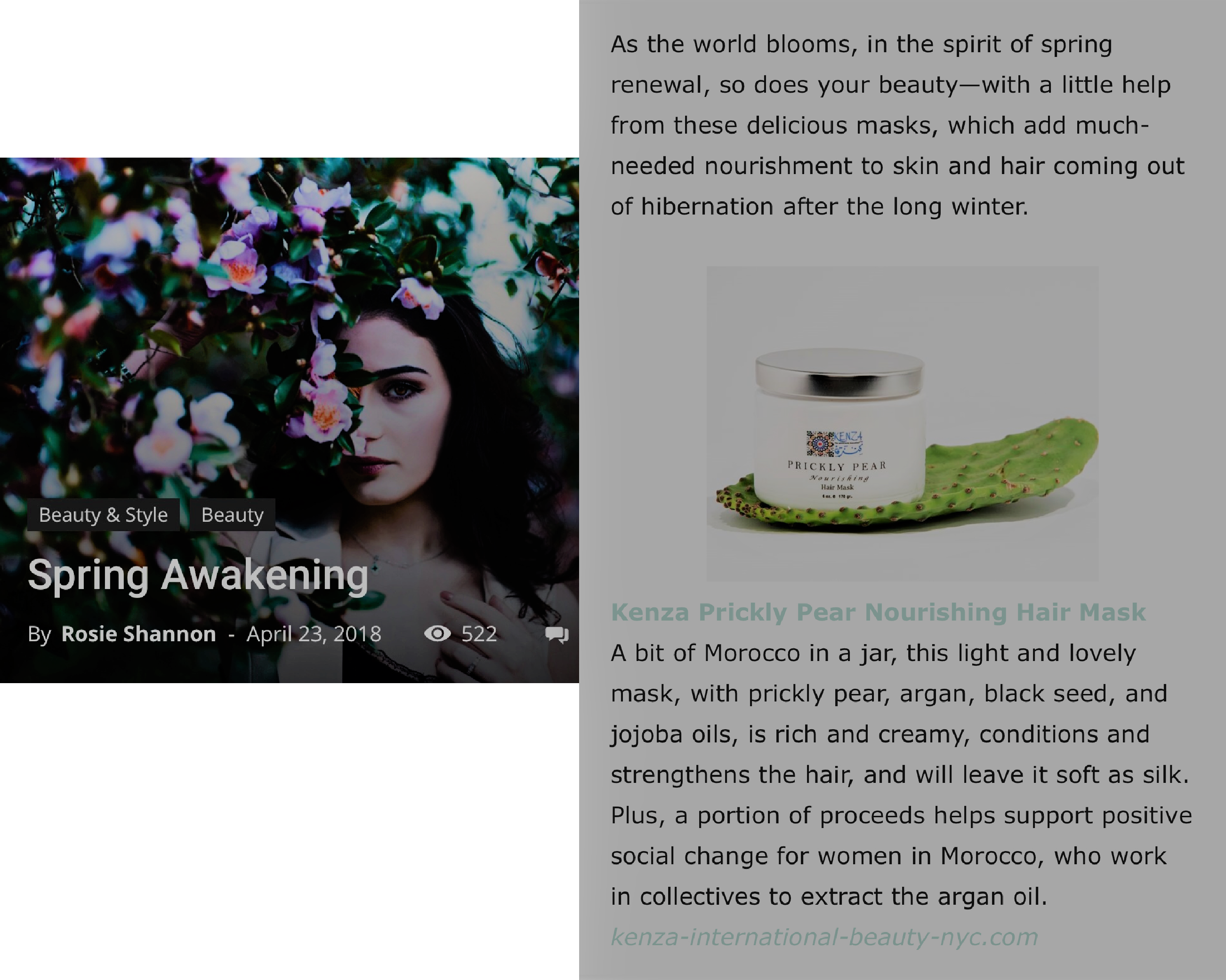 KENZA Prickly Pear Hair Mask featured in FAEIRE Magazine
