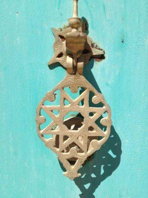 Moroccan Blue Door Gold Knob