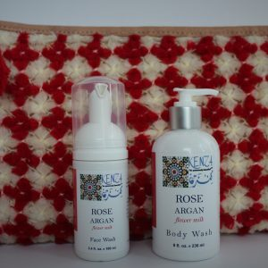 Beauty Gift Set Rose Body Wash Face Wash Red Clutch