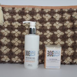 Beauty Gift Set with Body Oil SPA Bar Soap Clutch