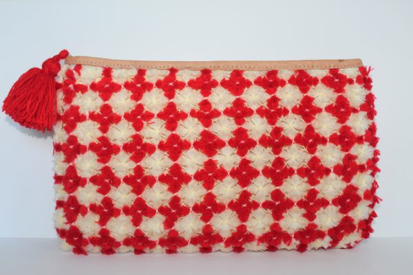 Red PomPom Straw Bag