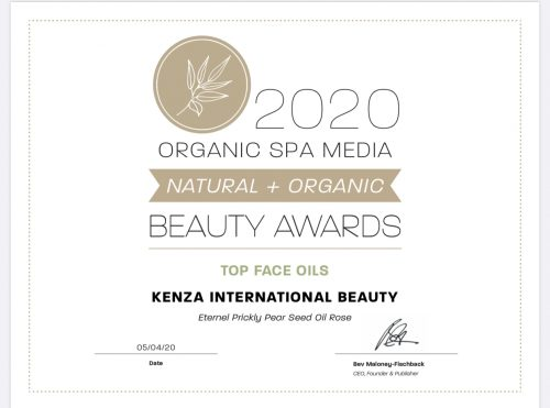 KENZA Prickly Pear Seed Oil Rose Eternel Top Face Oils Beauty Awards 2020 Organic SPA Magazine